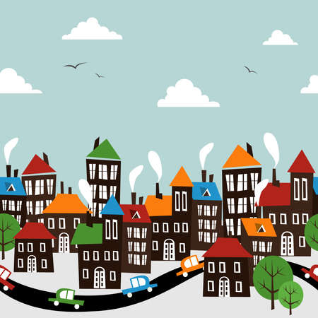 row houses: Christmas winter time town pattern background