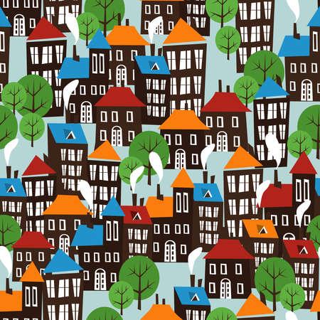 Christmas winter time city pattern background  Illustration