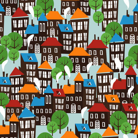 row houses: Christmas winter time city pattern background  Illustration