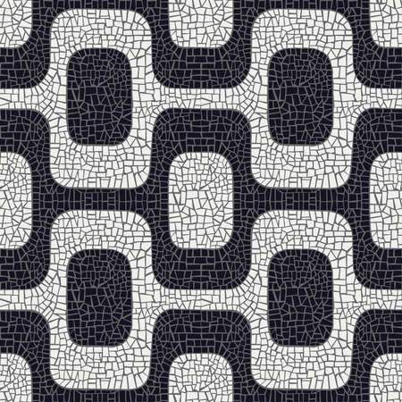 Abstract white and black wave pavement pattern background  Vector
