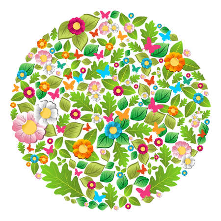 Leaf, flower, butterfly in spring and summer circle  Vector