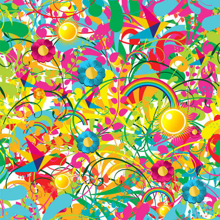 butterflies and flowers: Leaf, flower and butterfly summer pattern background
