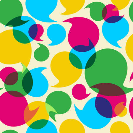 socialize: Colorful social media speech transparency bubbles seamless pattern background  Illustration