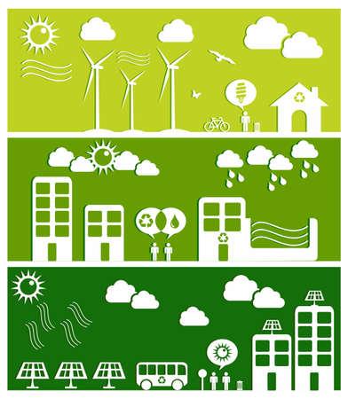 kassen: Ga groene stad banners Industrie duurzame ontwikkeling met behoud van het milieu achtergrond illustratie Stock Illustratie