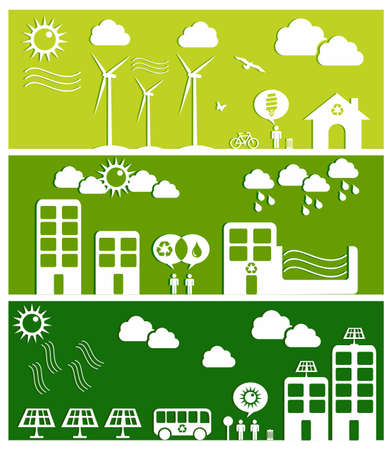 Go green city banners  Industry sustainable development with environmental conservation background illustration  Vector