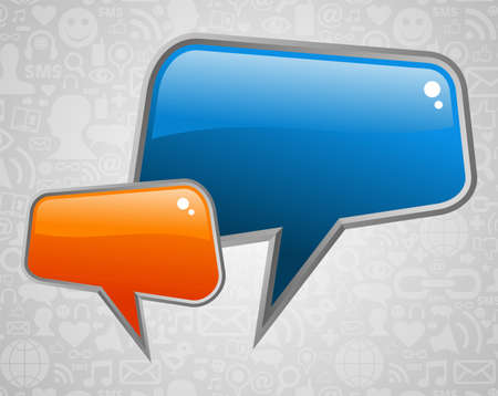 Glossy sociale media tekstballonnen met pictogrammen achtergrond Vector-bestand gelaagd voor gemakkelijke manipulatie en aangepaste kleur-