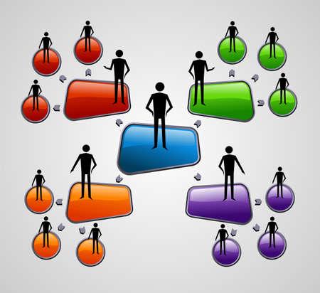gestion documental: Diagrama de medios de comunicación social contemporánea con el archivo de las personas la presentación Vector plantilla de capas para la manipulación fácil y personalizada para colorear