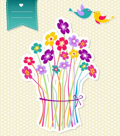 Abstract colorful bunch of flowers and birds composition background  Vector file layered for easy manipulation and coloring  Vector
