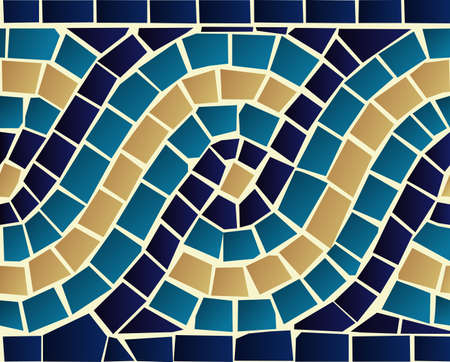 mosaic floor: Marine style blue wave mosaic seamless pattern background  Vector file layered for easy manipulation and custom coloring  Illustration