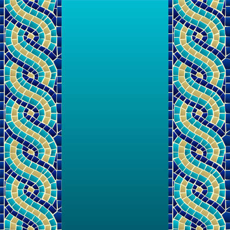 Marine style wave mosaic seamless pattern background  Vector file layered for easy manipulation and custom coloring  Vector