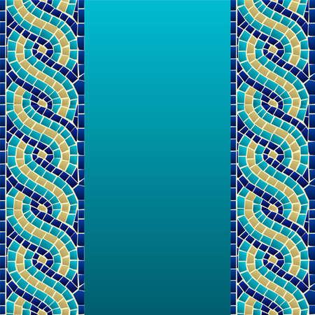 Ola marina estilo de mosaico continuo patrón de fondo del archivo vectorial en capas para la manipulación fácil y personalizada para colorear