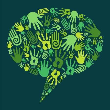 Go green human hands icons in social media bubble. Stock Vector - 14310959