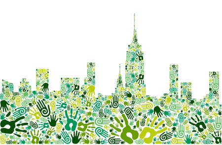 sustainable energy: Go green crowd human hands icons in city skyline composition isolated over white.
