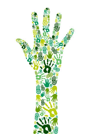 natural resource: Go green concept: human hands icons composition isolated over white background. Illustration