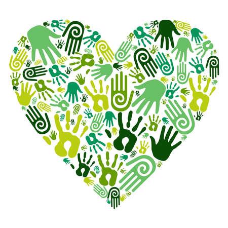 earth friendly: Ir verdes iconos manos humanas en el coraz�n el amor aislado sobre fondo blanco. Vectores