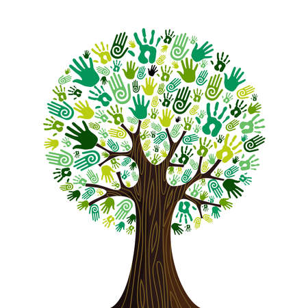 resources: Go green crowd human hands icons in isolated tree composition.