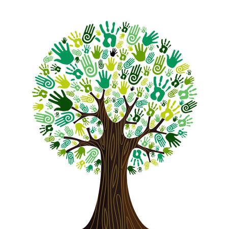 recursos naturales: Ir verdes iconos multitud manos humanas en la composición de árbol aislado.