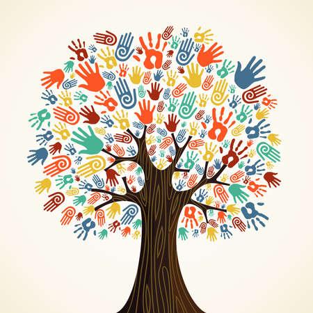 Isolata la diversità albero illustrazione mani. Vettoriali