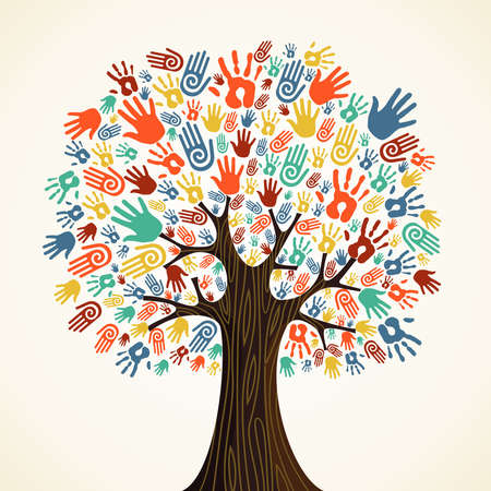 Isolated diversity tree hands illustration.  Ilustrace