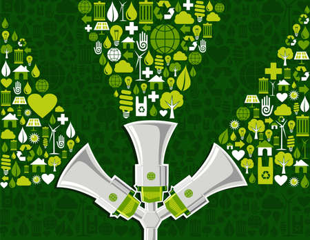 promote: Three megaphones promote green actions with ecology icons.