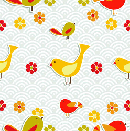 song bird: Fresh flowers and birds season seamless pattern background.