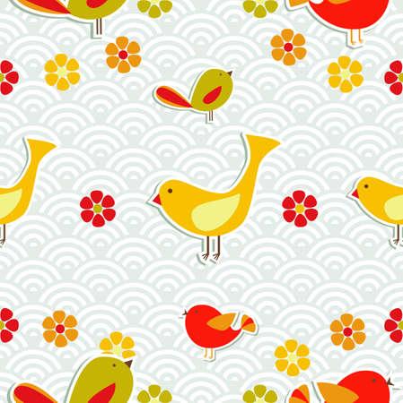 endlos: Frische Blumen und Vögel Saison nahtlose Muster Hintergrund. Illustration