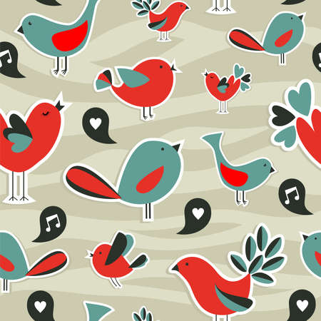 song bird: Fresh social birds communication with speech bubble seamless pattern  Illustration
