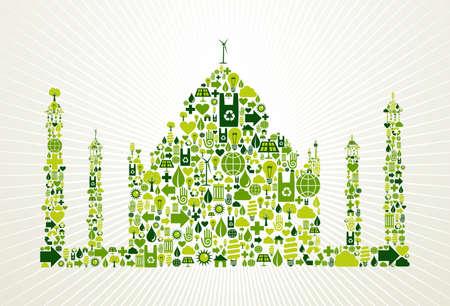 eco tourism: India go green  Eco friendly icon set in Taj Mahal shape illustration background