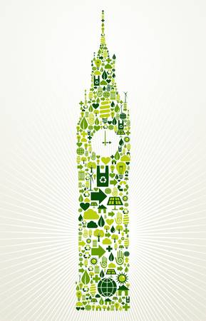 London go green  Eco friendly icon set in Big Ben clock building shape illustration background  Vector
