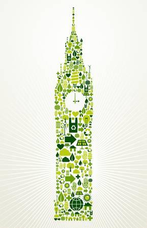 London go green  Eco friendly icon set in Big Ben clock building shape illustration background  Vector