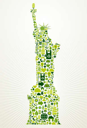 sustainable tourism: New York go green  Eco friendly icon set in Statue of Liberty shape illustration background Illustration