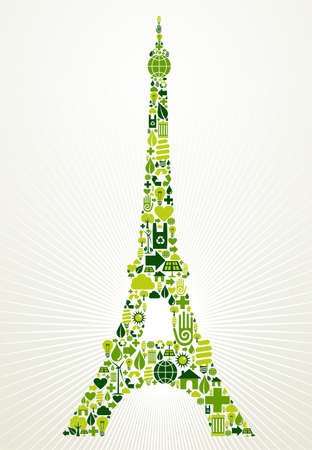 green eco: Paris go green  Eco friendly icon set in Eiffel Tower shape illustration background  Vector file layered for easy manipulation and custom coloring
