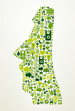chile: Chile go green  Eco friendly icon set in Easter Island shape illustration background
