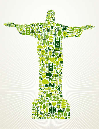 Rio de Janeiro and Brazil go green  Eco friendly icon set in Christ the Redeemer statue shape illustration