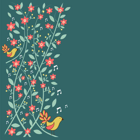 Fresh communication concept  birds singing over floral background   Vector