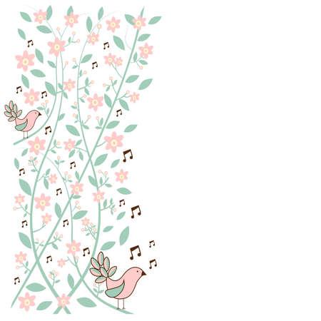 Fresh communication concept  musical birds over floral background