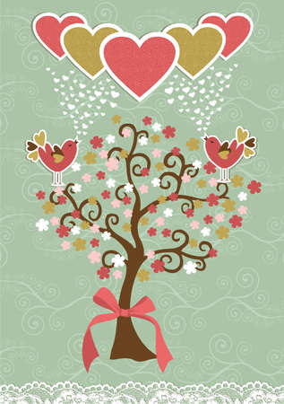 Communication love concept birds couple fall in love Vector