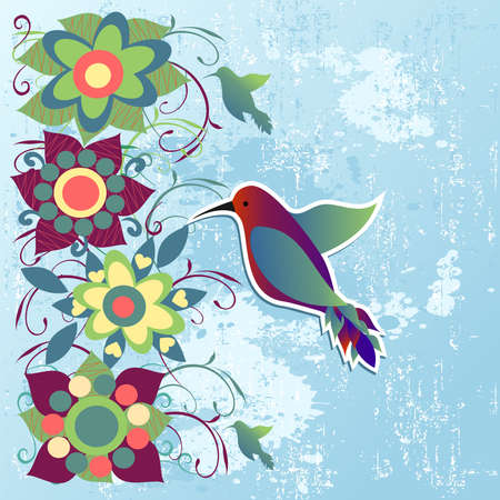 hummingbird: Abstract spring and summer time floral background   Vector file layered for easy manipulation and custom coloring  Illustration