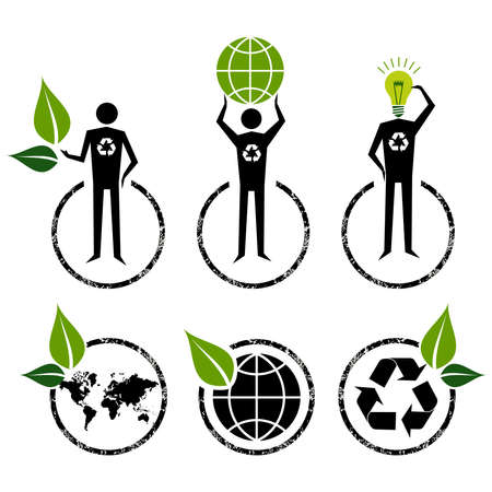 agriculture industry: Go Green people symbol ideas  Vector file layered for easy manipulation and custom coloring