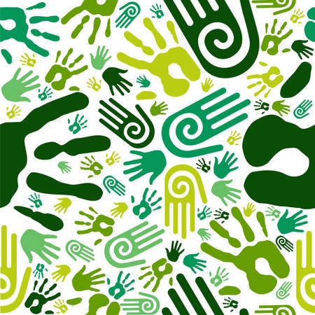 natural resource: Go green human hands icons seamless pattern background  Vector file layered for easy manipulation and custom coloring