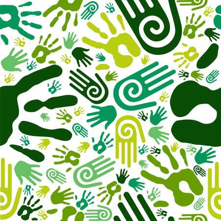 endlos: Go green menschlichen Händen Ikonen nahtlose Muster Hintergrund Vektor-Datei zum einfachen Manipulation und kundenspezifische Farbgebung geschichtet