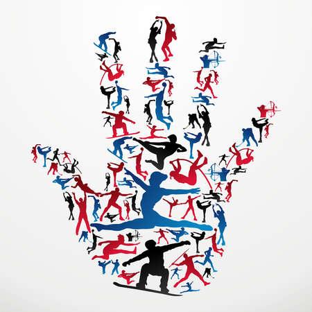 partes del cuerpo humano: Deportes siluetas de acci�n en forma de la mano humana