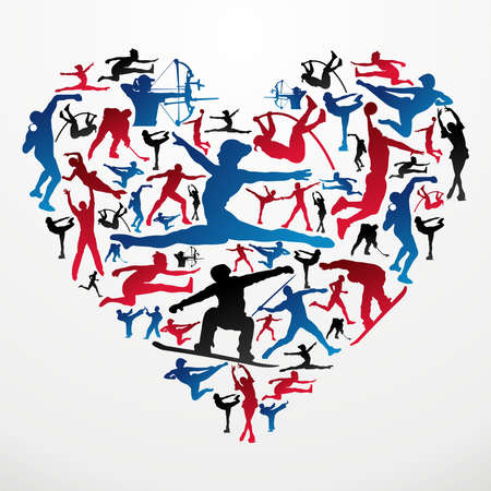 Action sports silhouettes in heart love shape  Vector