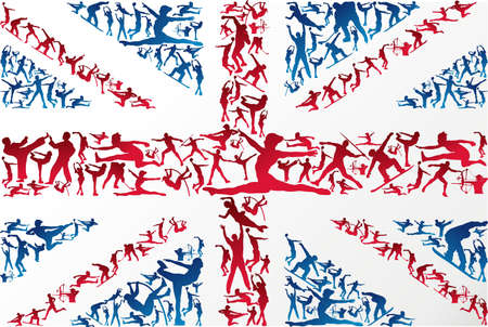 pentathlon: Action sports silhouettes in UK flag Illustration