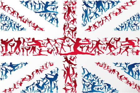 triathlon: Action sports silhouettes in UK flag Illustration