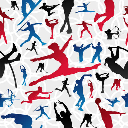 triathlon: Sports figure silhouettes in action seamless pattern background  Illustration