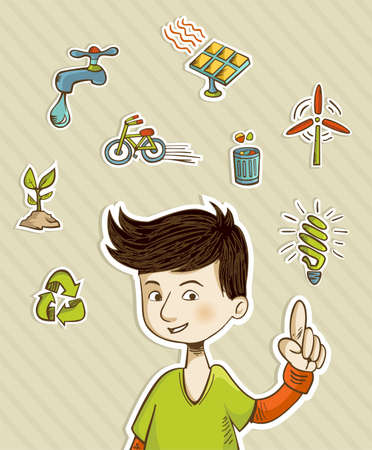 ni�os reciclando: Adolescente que presenta acciones verdes con conjunto de iconos retro estilo de dibujos animados