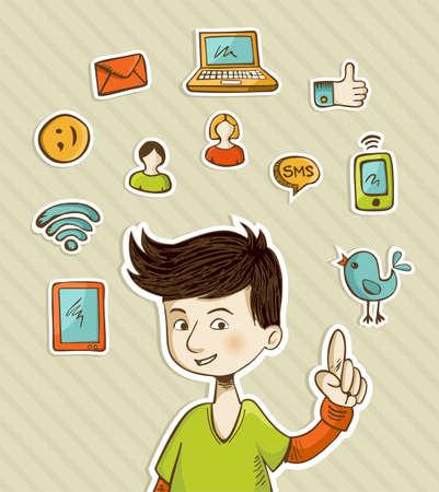 smartphone mano: Adolescente presenta azioni di social media con retro set di icone di stile cartone animato