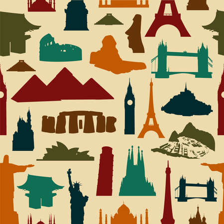 World landmarks silhouettes seamless pattern Vector