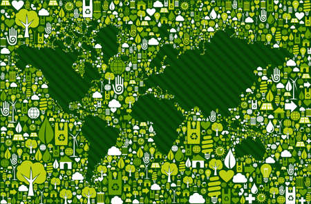light bulb low: Green environment icon set around World map shape